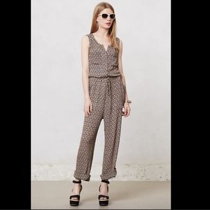 Anthropologie Lilka Tan Brown Darby Ikat Jumpsuit
